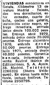 Anuncio de la Constructora RUVICAL insertado en ABC a finales del año 1969. Como vemos la publicidad era sencilla por lo que suponemos que los medios de esta empresa para publicitarse eran más bien escasos. Foto: Hemeroteca ABC.